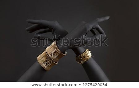 nő · arany · karkötő · szépség · arc · háttér - stock fotó © elnur