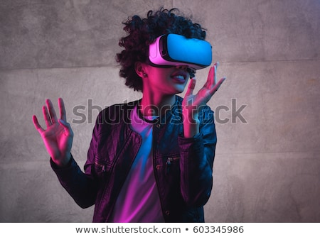 fiatal · derűs · hölgy · visel · virtuális · valóság - stock fotó © deandrobot