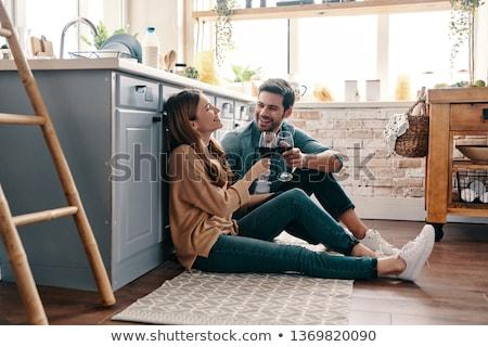 belo · feliz · casal · juntos · jovem · em · pé - foto stock © gregorydean