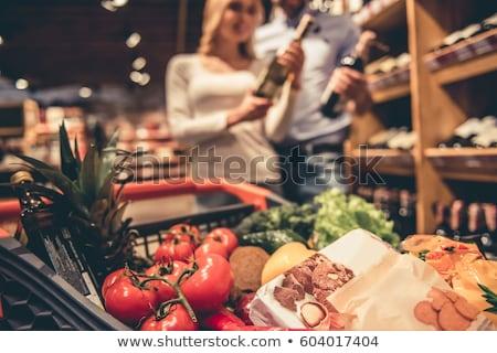Glücklich liebevoll Paar Supermarkt Auswahl Alkohol Stock foto © deandrobot