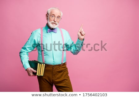 Stock photo: Funny professor showing blackboard