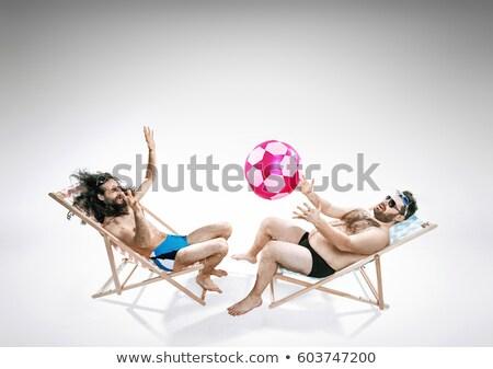 dois · obeso · gordura · homens · praia · homem - foto stock © konradbak