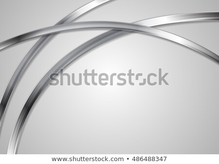 corporate tech background with silver wavy stripes stock photo © saicle