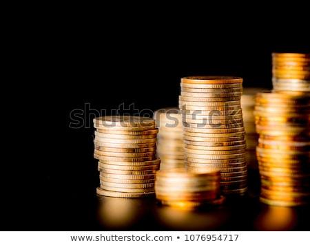 Boglya arany érmék fekete üzlet fém felirat Stock fotó © ordogz