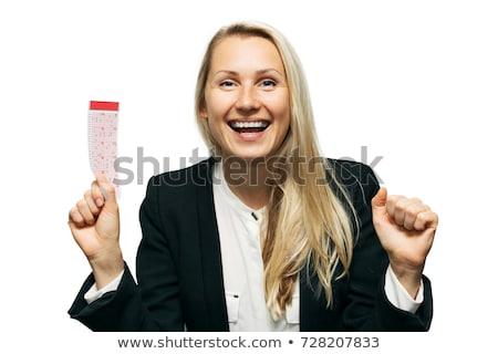 Stok fotoğraf: Iyango · bileti · kazanan · heyecanlı · ve · gülümseyen · kadınla