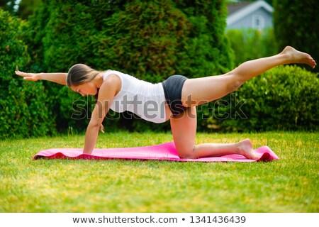 Mulher grávida ioga exercício ao ar livre grávida mulheres Foto stock © diego_cervo