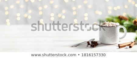 Stok fotoğraf: Hot Chocolate Dessert With Marshmallows On Wooden Background