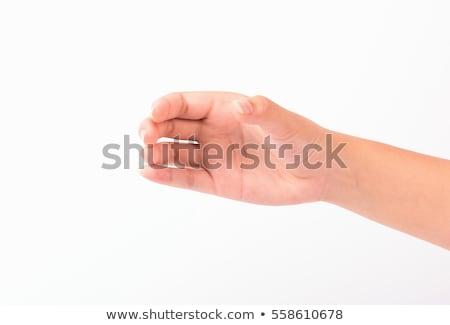 Bela mulher mão invisível vidro isolado Foto stock © julenochek
