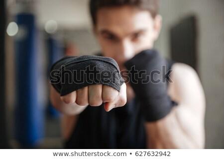 Görmek genç boksör egzersiz spor salonu Stok fotoğraf © deandrobot