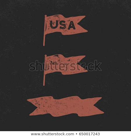 Hand drawn vintage flag. Retro roughen style. USA sign. Easy to change color. Stock vector illustrat Stock photo © JeksonGraphics