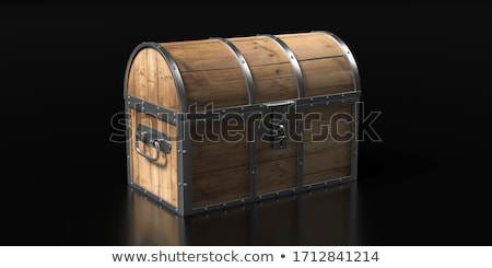 Dark Wood Treasure Chest with Lid Closed on Black Background Stock photo © frannyanne