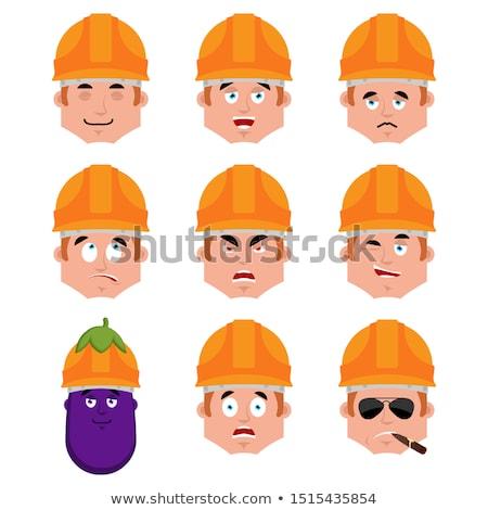 Budowniczy spać emocji avatar pracownika kaski Zdjęcia stock © popaukropa