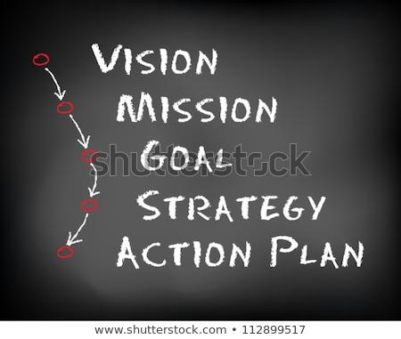 hand drawn action plan on office chalkboard stock photo © tashatuvango