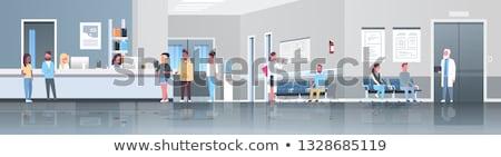 Foto stock: Enfermeira · em · pé · hospital · corredor · médico · retrato