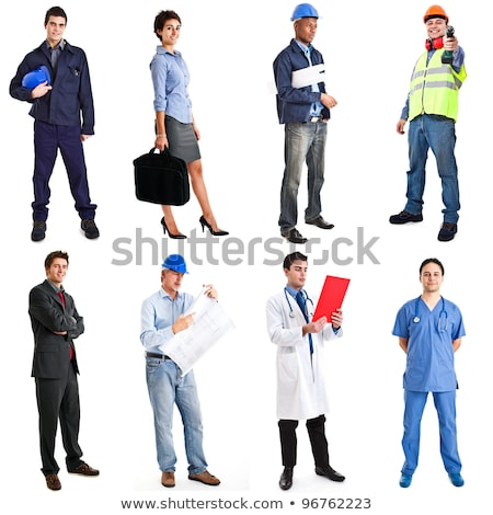 full length portrait of a happy young male builder stock photo © deandrobot