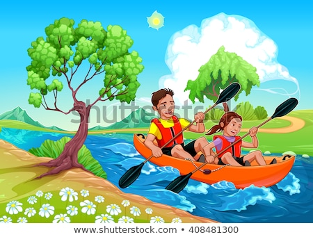 Father and daughter on the kayak Stock photo © ddraw