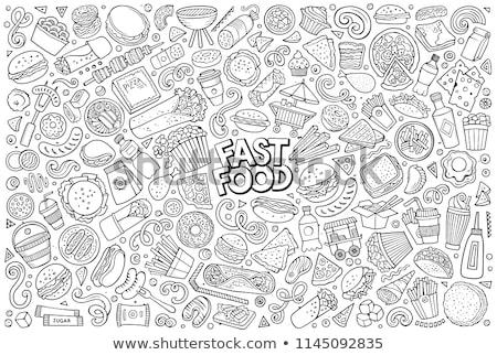 Fast-food cheeseburger içmek örnek clipart görüntü Stok fotoğraf © vectorworks51