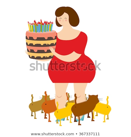 Sad woman of forty and birthday cake. Fat  lonely Lady. Only cat Stock photo © popaukropa