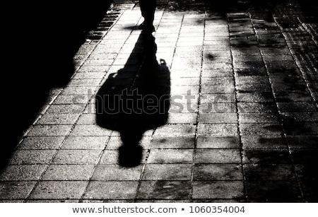 Nacht schaduwen silhouet sexy vrouw achter glas Stockfoto © Novic