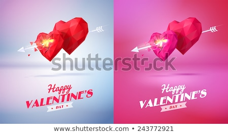 Happy valentines day text greeting card. Arrow pierced heart shape symbol of love Stock photo © orensila