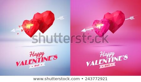 Boldog valentin nap szöveg üdvözlőlap nyíl szív alak Stock fotó © orensila