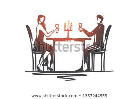 fiatal · nő · ül · asztal · kávézó · ikon · stílus - stock fotó © studioworkstock
