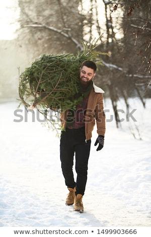 Portre mutlu sakallı adam kat ayakta Stok fotoğraf © deandrobot