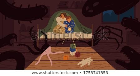 Erkek gizleme yatak zemin erkek sevimli Stok fotoğraf © IS2