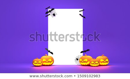 halloween pumpkin 3d rendering with bats and ghost Stock photo © Wetzkaz