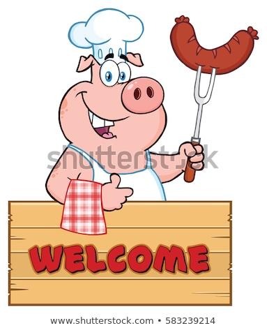 Сток-фото: повар · свинья · мультфильм · талисман · характер · колбаса