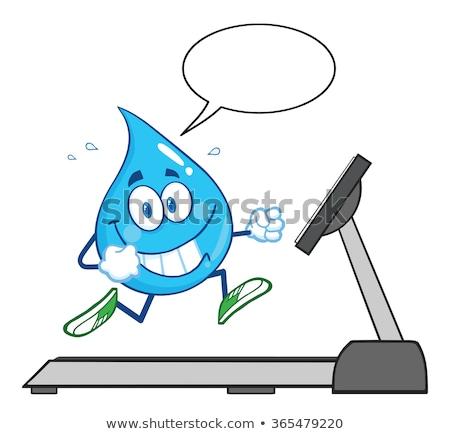 Healthy Blue Water Drop Cartoon Mascot Character Running On A Treadmill Stock photo © hittoon
