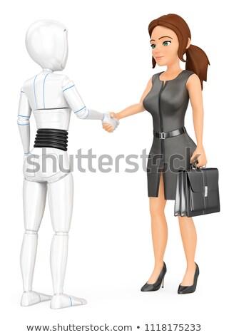 3D insansı robot el sıkışmak iş kadını fütüristik Stok fotoğraf © texelart