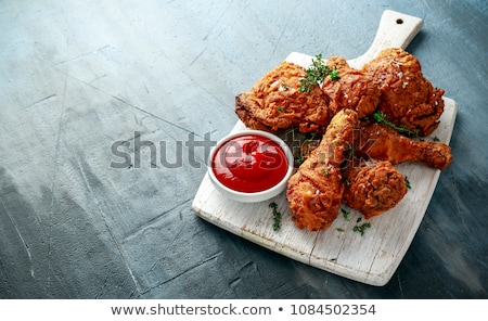 crispy chicken leg and ketchup Stock photo © M-studio