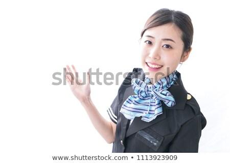 Kabiny niebieski kobieta uśmiech twarz piękna Zdjęcia stock © toyotoyo