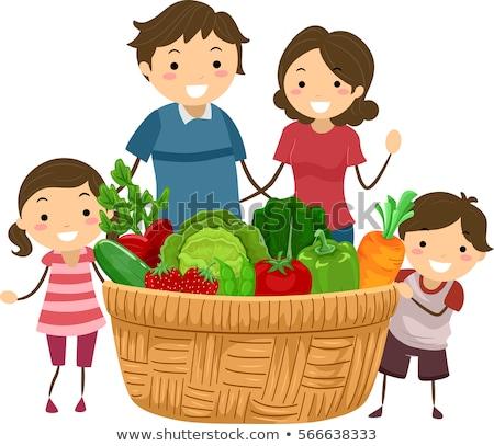 Stickman Family Basket Veggies Fruits Stock photo © lenm