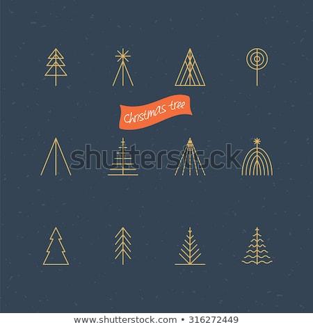 Christmas and New Year retro geometric icon tree Stock photo © cienpies