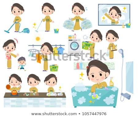 Kimonó citromsárga nők vásárlás konyha élet Stock fotó © toyotoyo