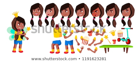 Girl Kindergarten Kid Vector. Black. Afro American. Animation Creation Set. Face Emotions, Gestures. Stock photo © pikepicture