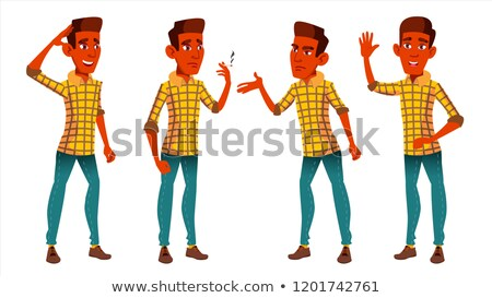 Teen Boy Poses Set Vector. Indian, Hindu. Asian. Cute, Comic. Joy. For Postcard, Announcement, Cover Stock photo © pikepicture