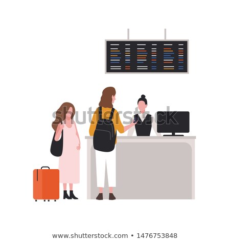 Young Girl At The Passport Control At The Airport Vector. Isolated Illustration Stock photo © pikepicture