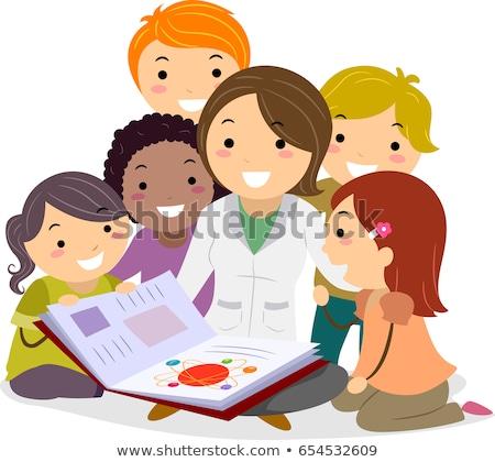 дети учитель физика книга иллюстрация чтение Сток-фото © lenm