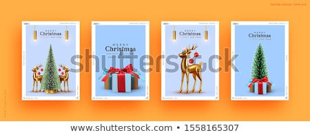 Stock photo: Merry Christmas Illustration with Red Bow Ribbon and Typography Elements on Blue Background. Vector