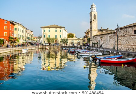 Garda lake town of Lazise tourist postcard  Stock photo © xbrchx