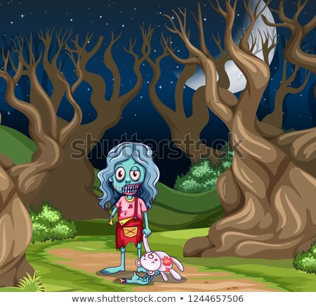 young zombie girl in the dark wood stock photo © bluering