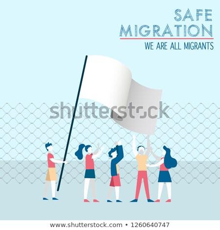 Széf vándorlás sokoldalú gyerekek csoport nemzetközi Stock fotó © cienpies