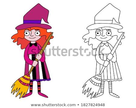 girl character cartoon coloring page Stock photo © izakowski