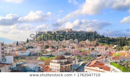 Atenas · linha · do · horizonte · ver · rua · montanha · viajar - foto stock © neirfy