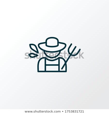 farmer with Hayfork and Rake Vector Illustration Stock photo © robuart