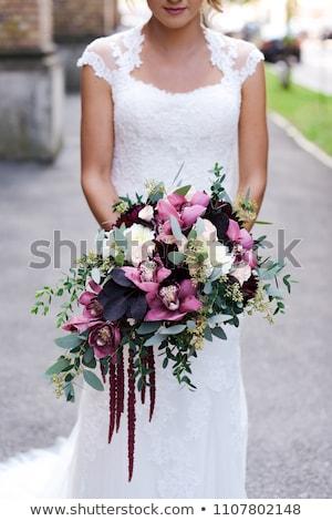 Braut · Hochzeit · lila · Frau · Hände · Frühling - stock foto © ruslanshramko