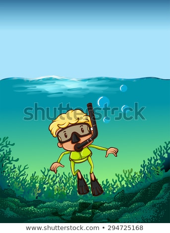 man doing scuba diving under the ocean stock photo © colematt